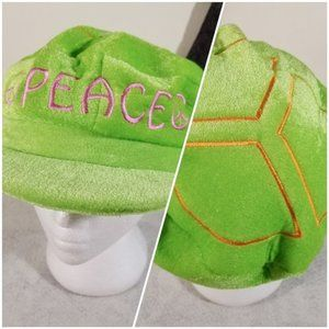 Peace Symbol Green Fuzzy Soft Costume Fun Play Hat